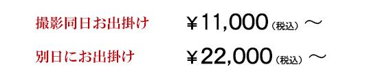 撮影同日のお出掛けは¥11,000税込~、別日にお出掛けの場合は¥22,000税込~